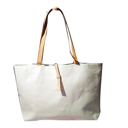 Femmes Sac Handbag,OverDose Fourre-Tout En Imitation Cuir Sac Fourre-Tout Imitation Croco Avec Poche ZippéE Blanc