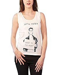 Justin Bieber Vest What Do You Mean Official Womens White Skinny Fit