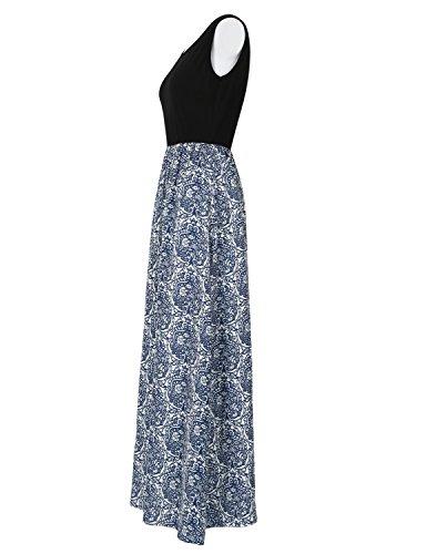 Sommerkleid Damen Partykleid Lang Chiffon High Waist Striped Sleeveless Beach Kleid Elegant - Très Chic Mailanda Schwarz-Blau