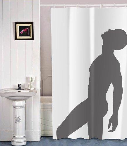 Der Coole Duschvorhang mit Einer Silhouette von einem sexy Mann - Der nackte Mann für Ihre Dusche im Badezimmer