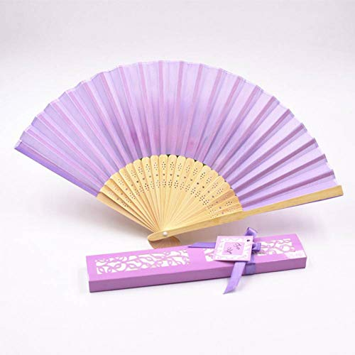 ZGDPLZS Abanico Plegable 20Pcs DIY Solid Color Hand Fans Wedding Party Favor Folding Fan Gift Box Packing,Light Purple