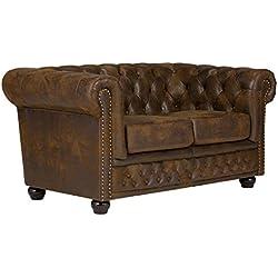 massivum Chesterfield Sofa 2-Sitzer, Stoff, braun, 154 x 90 x 67 cm