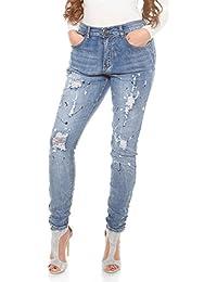 CURVY GIRLS Damen Jeanshosen Jeans Hose Pants mit Print Destroyed 5-Pocket