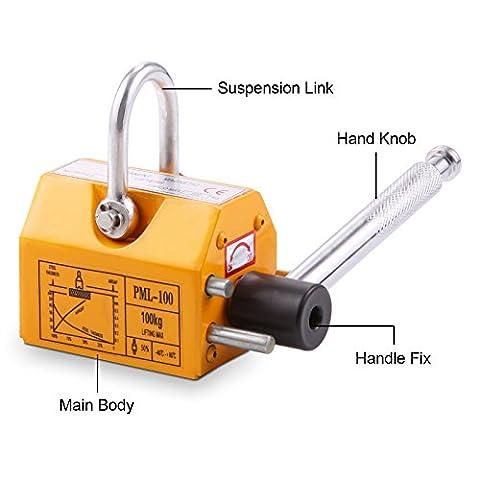 Succebuy magnétique Lifter 99,8kilogram Permanent en acier de levage magnétique en néodyme magnétique Lift Palan N42–45