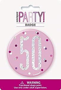 Unique Party 83534 - Insignia de cumpleaños, color rosa y plateado