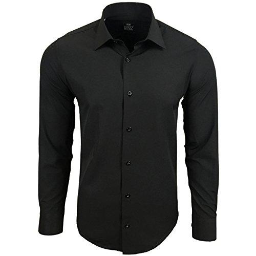 Rusty Neal Herren Einfarbig Hemd Business Hochzeit Slim Fit S bis 6XL 55 Schwarz