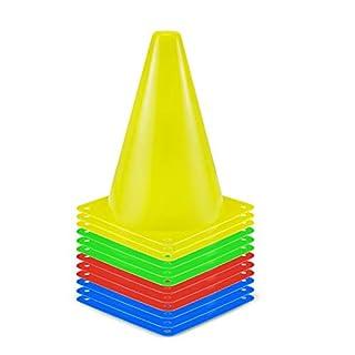 SKL Sport Cones Space Marker Traffic Cone Set 12 Pack pour Enfants Accueil Gym Football Training Soccor (4 Couleurs) (7 Pouces)