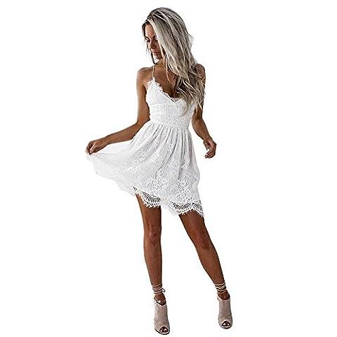Damen Kleider Sommer Casual Vintage Spitze V Ausschnitt Träger Strandkleider Mini Beachwear Strandkleider Mini Strandkleider Clubwear Dress (M, Weiß)