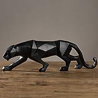 Pantera Nera Statua Leopardo Scultura Grande figurina di Animali Stile Geometrico Astratto Resina Home Office Decorazione Accessorio Regalo, Big Black