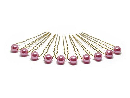 10 x Perlen Haarnadeln - Brauthaarschmuck, Haarschmuck, Perlenhaarnadel | 10PG - Pink