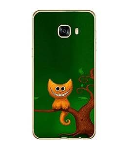 Fiobs Designer Back Case Cover for Samsung Galaxy C7 SM-C7000 (Cat Billi Biladi Tree Bark)