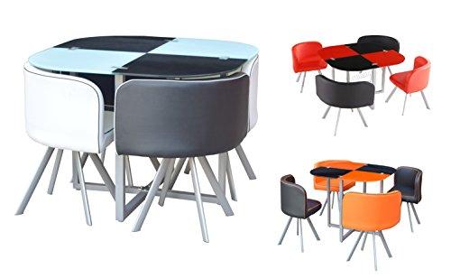 Table salle à manger en verre et 4 chaises imitation cuir, Space Saver, noir et rouge