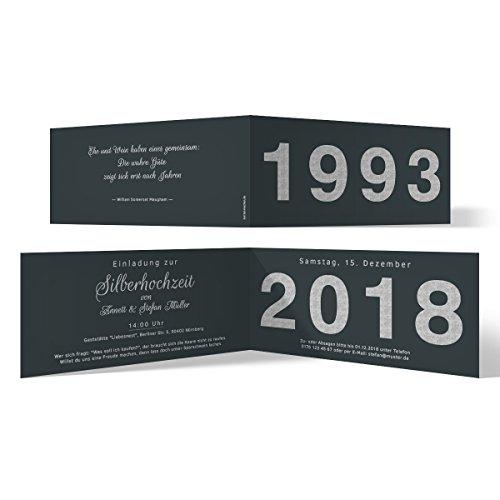 30 x Hochzeitseinladungen Silberhochzeit silberne Hochzeit Einladung - Jahrzehnt Sprung