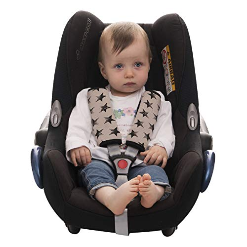 JANABEBE Gurtpolster Universal für Babyschale, Buggy, Autositz DARK SKY, M