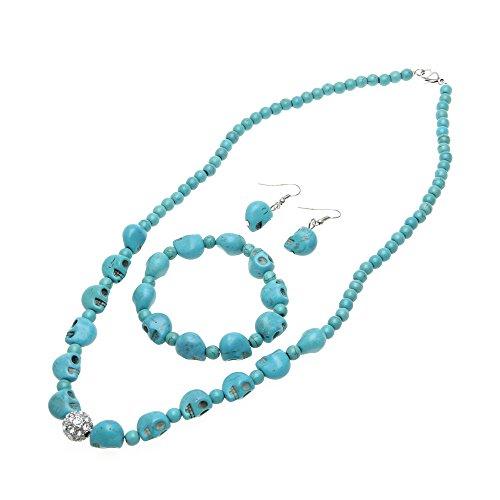 Skyllc Eleganter Blauer Türkis Edelstein Schädel Skeleton Charme Halsketten Ohrring Armband Schmuck Set