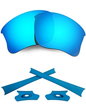 HKUCO For Oakley Flak Jacket XLJ Blue Polarized Replacement Lenses And Blue Earsocks Rubber Kit