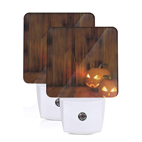 Jack O Lanterns Scary Halloween Photograph In A Wooden Interior Fall Themed Image Auto Sensor LED Dusk to Dawn Night Light Set Of 2 White