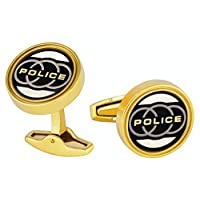 Police Gold Plated And Black Stainless Steel Cufflinks For Men - PJ90090CSG/02