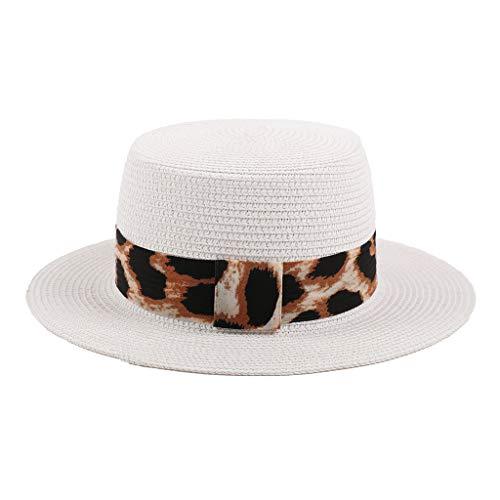 Junjie Sonnenschutz-Sonnenschutz-Leopard mit kurzem Strohhut Damen Strohkappe Panama Stil Crushable Sun Beach Leopard Hut Khaki, Schwarz, Weiß, Beige Safari Panama