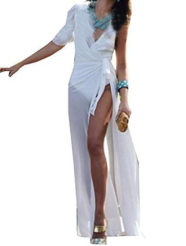 Tootlessly Women's Simple Wild Stitch Gauze Thin Tunic Cocktail Dress White S