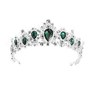 Royal Crystal Tiara Hochzeit Kronprinzessin Headpieces Braut Haarschmuck (grün)