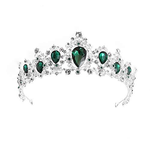 Lurrose Elegante Silber Braut Krone Strass Prinzessin Tiara für Party Pageant (grün) - Elegante Kronen