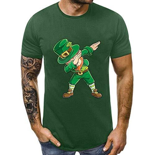 Kobay-Herren St. Patrick's Day Grün Print O-Ausschnitt Kurzarm T Shirt Tees Top Bluse Herren St. Patrick's Day Print Kurzarm T-Shirt