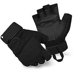 Señor Táctica Guantes sin dedos Guantes de bicicleta guantes de motocicleta Outdoor Sport Guantes Fitness Guantes Army Gloves Ideal para airsoft, Militar, paintball, airsoft, caza, color negro, tamaño XL