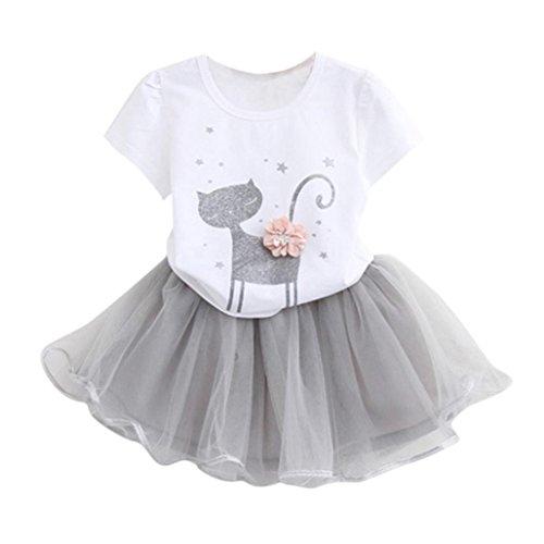 nder kleider Mädchen Blume T-Shirt + Garn Rock mädchen modegedruckten hemd kleid kleidung setzen Hemdkleid Baby Tutu Kleid (120, Weiß) (Hochzeits-blumen-mädchen-kleider)