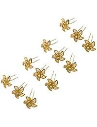 HomeDecor4u, Golden Fancy Juda/Hair Pins with Flowers For Bun/Juda pins For Hair