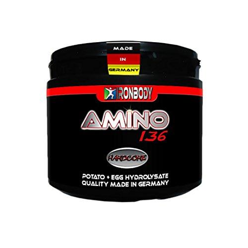 Früher Aminosäuren (Ironbody HARDCORE Amino 136, 250 Kapseln Dose (Made in Germany!))