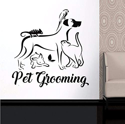 Dalxsh Hundesalon Wandaufkleber Vinyl Aufkleber Fenster Logo Tiere Dekorationen Pet Puppy Shop Salon Decor Tierpflege Zeichen Dekoration 42x43 cm (Halloween Wallpaper Puppy)