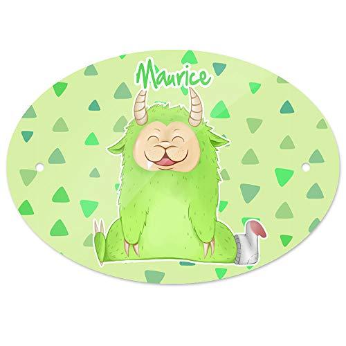 Eurofoto Türschild mit Namen Maurice und Motiv - Kleines Monster - für Jungen | Kinderzimmer-Schild