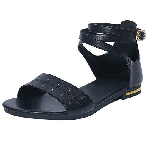 Susu  Sandales Bout Ouvert Femme Chaussures Femme Ete Sandales Femmes Casual Peep-Toe Femmes Plat Boucle Chaussures Sandales Roman