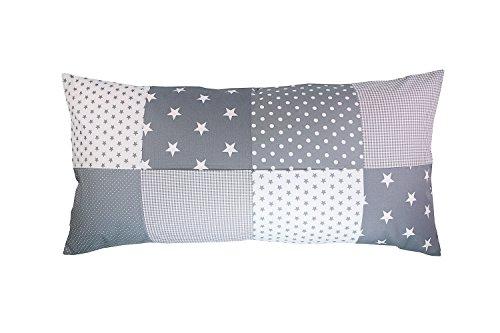 ULLENBOOM Patchwork Kissenbezug Graue Sterne (40x80 cm Kissenhülle, 100% Baumwolle, ideal als Dekokissen, Kinderzimmer Zierkissen, Motiv: Sterne)