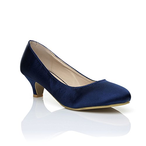 Charm Navy Blue Satin Low Heel Round Toe Comfort Bridal Court Shoes Size UK 4 EU 37