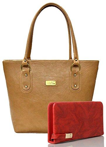 Mammon Women's Handbag And Clutch Combo (Beige-Red, 40x30x10 CM)