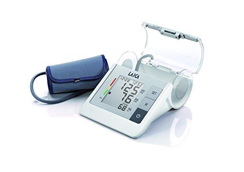 Laica BM2605 Misuratore di Pressione Sanguigna da Braccio Automatico, 90 Memorie, Porta Bracciale, Bracciale Extra-Large, Bianco/Silver
