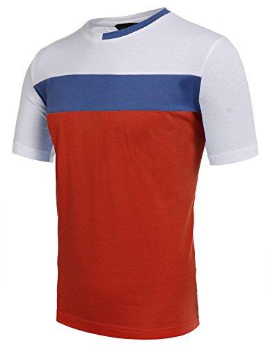 Rw-3 Farbe (Wixens Herren T-Shirt Kurzarm Melierte Optik Aufgesetzte Brusttasche V-Ausschnitt mit Knöpfe-Dekor Sommershirt 3 Farben S-XXL (XL, Rot und Weiß))