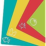ZITFRI 4er Set Schneidebrett Kunststoff 38x30,5cm Schneidematte antibakteriell Tranchierbrett Frühstücksbrett biegsam hygiene und rutschfest, getrennter Gebrauch für Lebensmittel wie Fisch / Gemüse / Geflügel / Fleisch