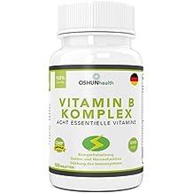 Vitamin B Komplex Tabletten | 180 Tabletten reichen für sechs Monate | 100% des Tagesbedarfs von allen acht B Vitaminen | B1, B2, B3, B5, B6, B7 (Biotin), B9 (Folsäure) und B12 | Ergänzungsmittel zur verbesserten Energiefreisetzung, Stärkung des Immunsystems und der Gehirnfunktion | OSHUNhealth