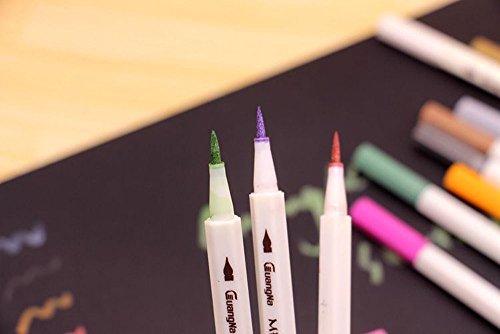Metallic Stifte Marker Pens Farben Pinselstift, Satz von 12 Farben Metallic Marker Pens für Kartenherstellung / DIY Fotoalbum / Gebrauch auf irgendeiner Oberfläche-Papier / Glas / Kunststoff / Keramik - 2