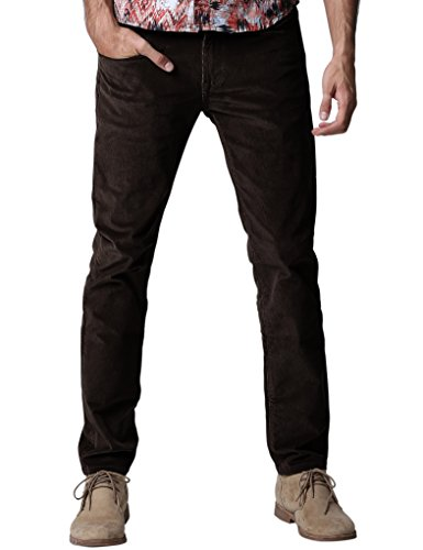 Match Herren Slim-Tapered Flat-Front Casual Kord Hose #8052(8084 Braun,34)