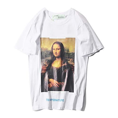 SPONSOKT T-Shirt Klassisch FüR Off-White Mona Lisa - KurzäRmliges Sommerliches Baumwolloberteil Mit Print Unisex/Weiß/L -