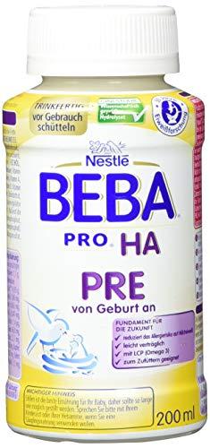 Nestlé BEBA PRO HA PRE Hypoallergene Säuglings-Anfangsnahrung, hydrolysierte Baby-Nahrung, trinkfertig von Geburt an, 2er Pack (2 x 1.236 kg)