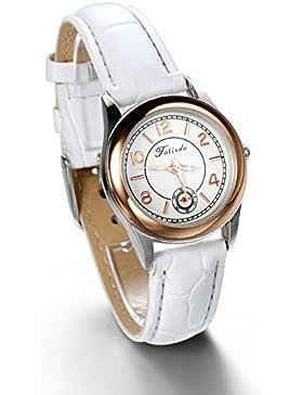 JewelryWe Damen Armbanduhr, Analog Quarz, Einfach Elegant Casual Uhr mit Leder Armband, Weiss