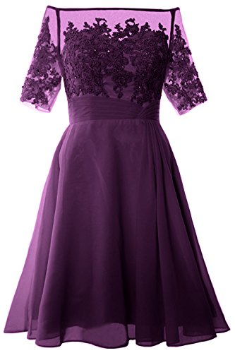 MACloth Women Off Shoulder Mother of Bride Dress with Sleeve Midi Cocktail Dress Eggplant