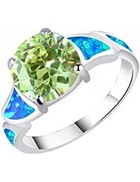 KELITCH Mujeres Azul ?palo Anillo con Redondeado Verde Cristal - Tama?o (USA) 7 / (ES) 14, 15