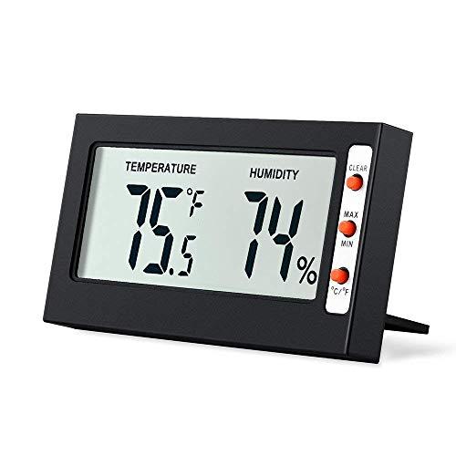 GZ-Elektronische Digitale Thermometer und Hygrometer Hause innen hohe präzision digitalanzeige temperatur und luftfeuchtigkeit Meter Desktop tragbare (schwarz) (Digital-thermometer-desktop)