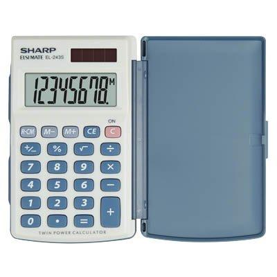 Sharp EL-243S-Taschenrechner, Taschenlampe, Taschenrechner Basic, 8Ziffern, Silber